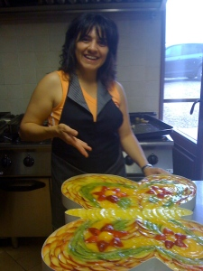 Laura with the amazing torta she prepared for the party