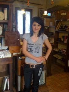 Gabriella at the legatoria where I buy my notebooks