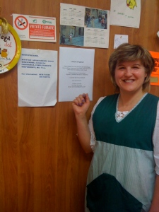 Antonella posing beside my flyer offering English lessons