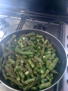 Sauteeing asparagus for a frittata