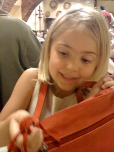 Birthday dinner with Bonnie's family-- Natalie seems to like her new purse
