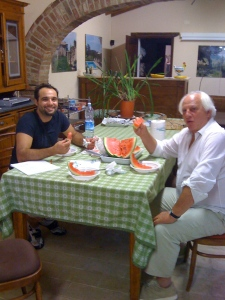 Meeting with Saverio and Iacopo at the agriturismo