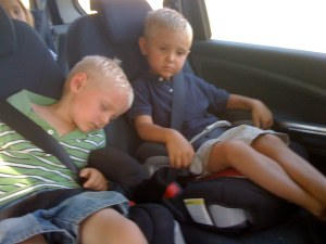 After proclaiming he could play forever, Christopher is the first to fall asleep on the way home!