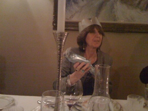 Italian friend, Vanda got into the spirit of the Christmas crackers and even wore her crown.  When we attempted these at Anna's house for Christmas Eve dinner one was set on fire by a candle!