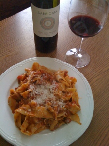 Tagliatelle with Marinella's ragù di capriolo and my friend Marco's wine.
