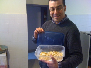 My friend Valerio who owns our local pet store agrees to give my pasta a try....No pressure!