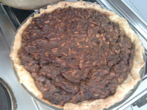 Chocolate Bourbon Walnut pie (it was supposed to be pecan but you can't have everything!)