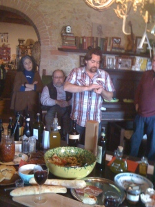 an olive oil tasting at cookbook author, Pamela Johns' house.